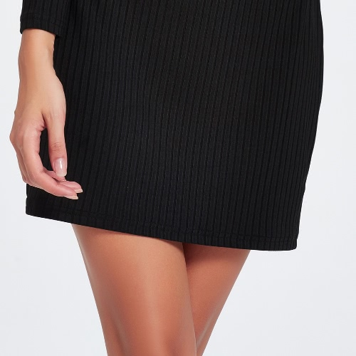 Off Shoulder Turtleneck Long Sleeve Solid Bodycon Knitted Dress