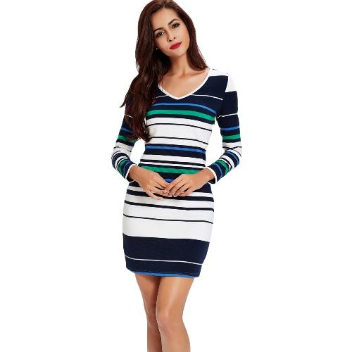 Contrast Stripe Design V Neck Knitted Long Sleeve Dress