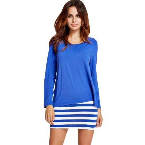 Solid Color Stripe Splice Round Neck Long sleeve Casual Dress