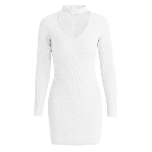 Choker V Neck Long Sleeve Solid Ribbed Warm Mini Dress