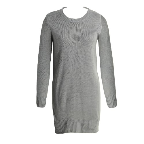 Round Neck Long Sleeve Solid Split Hem Knitted Sweater