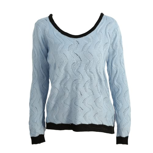 Knitted Cable Button Back Hollow Out Contrast Ribbed Trim Sweater
