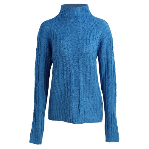 Winter Sweater Turtleneck Twist Stretchy Slim Solid Color Knitted Pullover