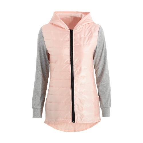 Splicing Zipper Pocket High Low Hem Padded Jacket Thin Hooded Coat
