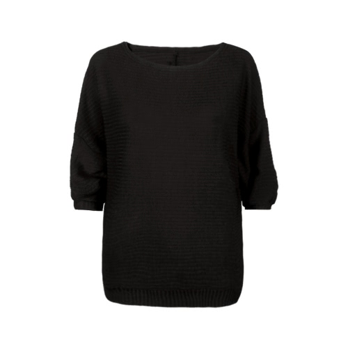 Casual Rib Round Neck Long Batwing Sleeve Loose Sweater