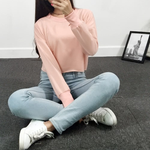Hole Cut Out Long Sleeve Loose Short Pullover T-Shirt