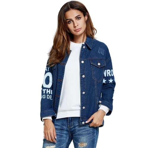 Single Breasted Long Sleeve Pocket Denim Jacket