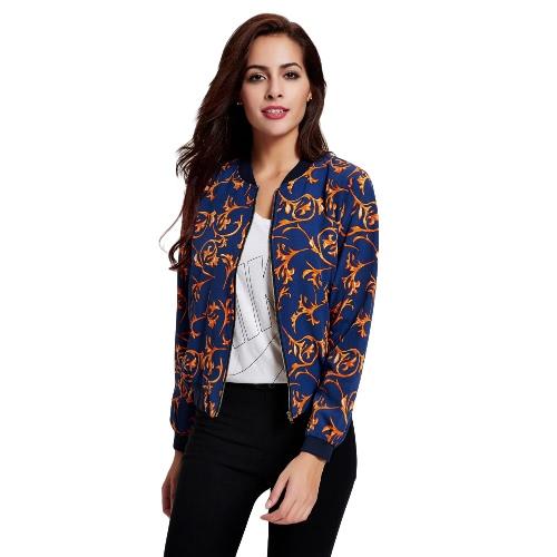 Print Zipper Stand Collar Elastic Trim Slim Jacket