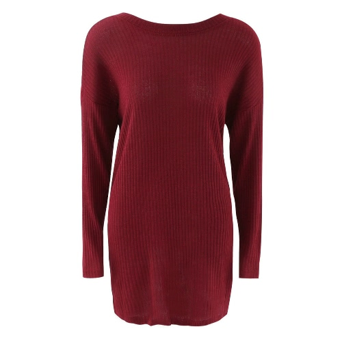 Backless Round Neck Long Sleeve Solid Color Mini Sweater Dress