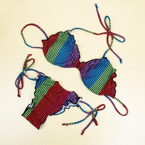Stylish Contrast Stripe Halterneck Padded Cup Lace Up Bikini Set