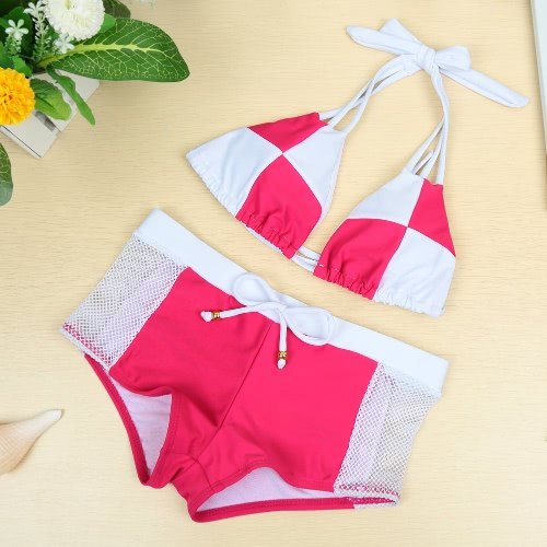 Sexy Color Block Halter Padded Two Piece Rose Bikini Set