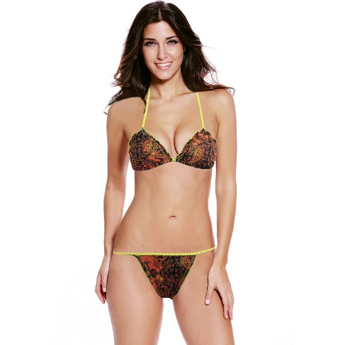 Halter Push Up Padded Print Low Waist Triangle Bikini