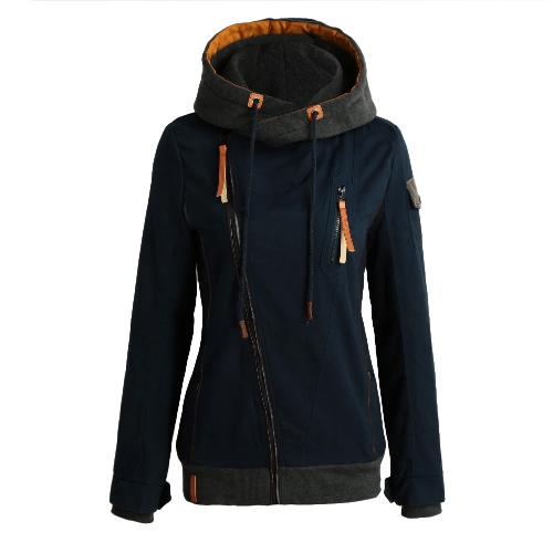 Drawstring Skew Zipper Slant Pocket Sport Jacket