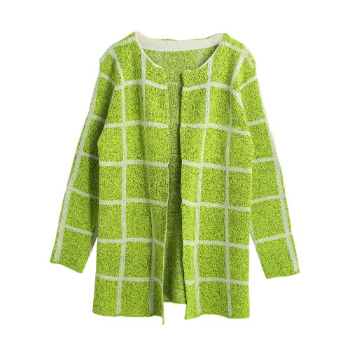 Plaid Open Front Casual Knitted Sweater Cardigan
