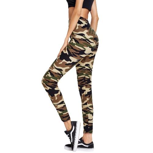 Sports Camo Contrast Elastic Waist Fitness Slim Leggings