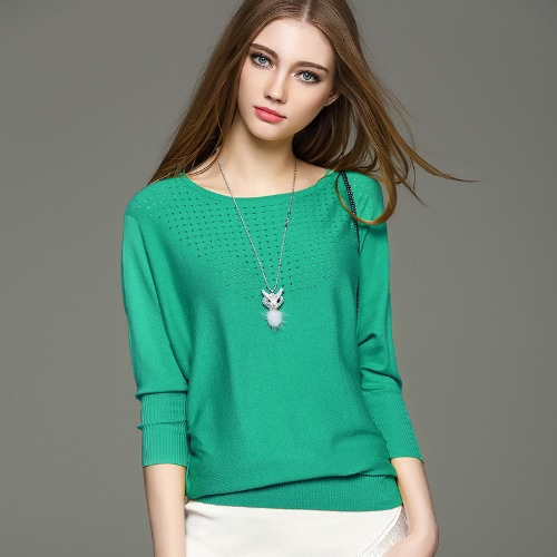 Elegant Batwing Long Sleeve Hollow Out Slim Sweater