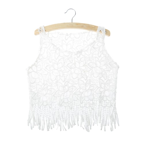 Sexy Crochet Lace Floral Embroidery Tassels Fringed Hollow Out Sheer Bralette