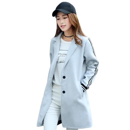Strips Letter Side Pockets Midi Wool Coat
