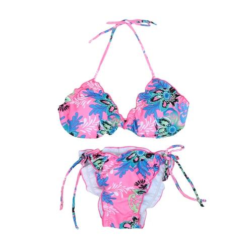 Sexy Floral Print Halter Bikini Set