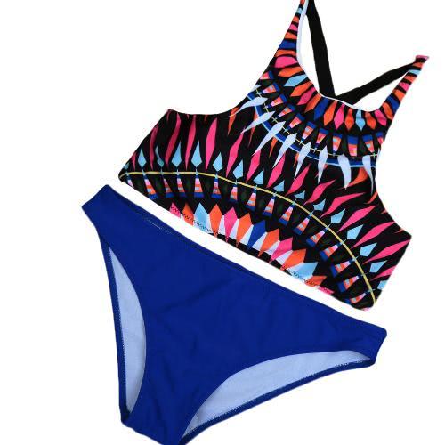 Sexy Geometric Print Push Up Top Low Waist Bikini Set