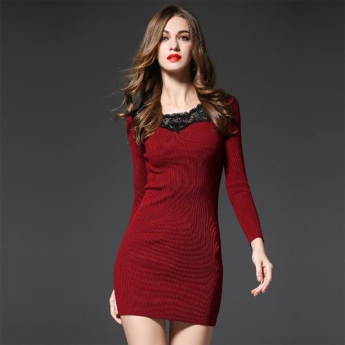 Ribbed Long Sleeve Knit Lace Mini Dress