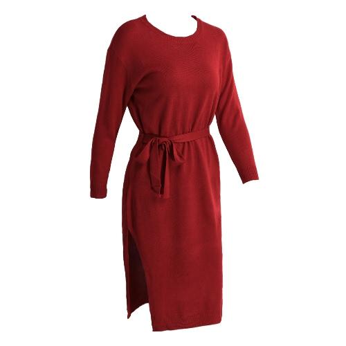 Solid Color Split Long Sleeve Slim Sweater Dress