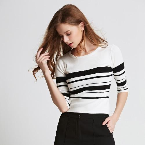 Elegant Stripe Color Block Ribbed Round Neck Half Sleeve Slim Sweater
