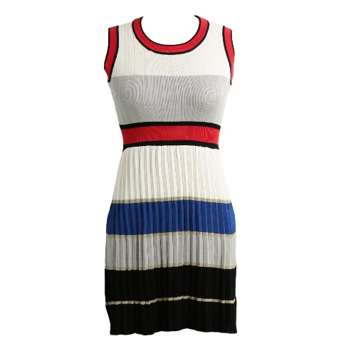 Contrast Color Splicing High Waist Knit Dress
