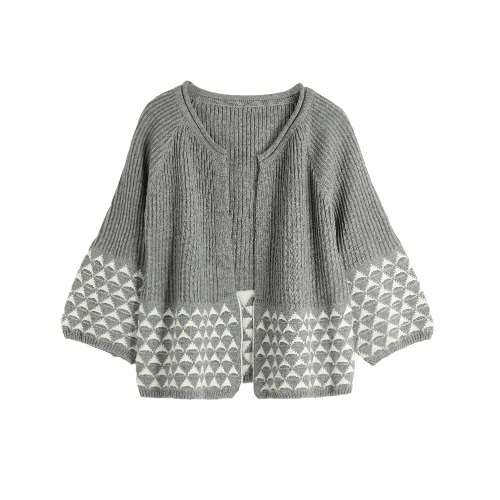 Knitted Open Front Geometric Pattern Loose Sweater