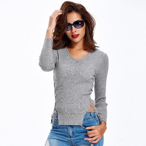 Lace Up Sides Long Sleeve V Neck Solid Slim Sweater