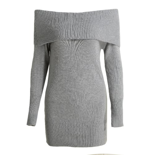 Off Shoulder Long Sleeve Party Short Knitted Dress