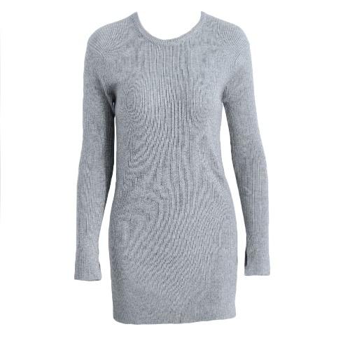 Split Hem Long Sleeve Ribbed Sweater Kitted Pullover