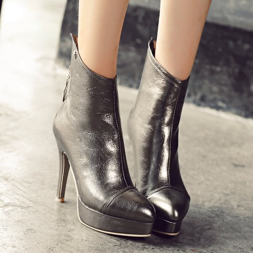 Pointed Toe Platform High Heels Back Zipper Boots