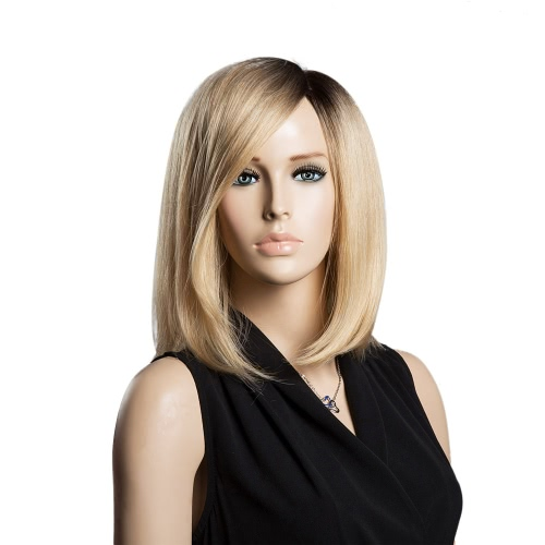 Middle Long Straight Human Hair Black Yellow Wig