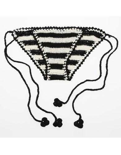 Sexy Knitted Tie Waist Contrast Stripe Beach Black Crochet Bikini Bottom