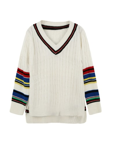 Trendy Contrast Stripe Side Slits V Neck High-low Hem Warm White Sweater