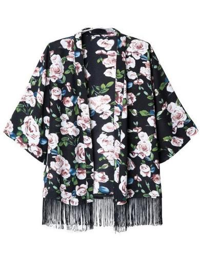 Stylish Floral Print Fringe Tassel Half Sleeve Black Chiffon Kimono