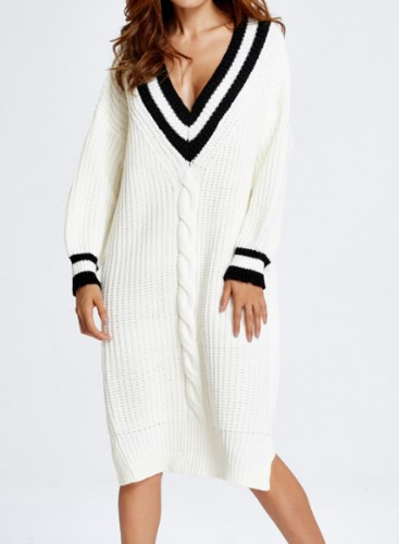 Contrast Deep V Neck Split Hem Loose Knitted Dress Long Sweater