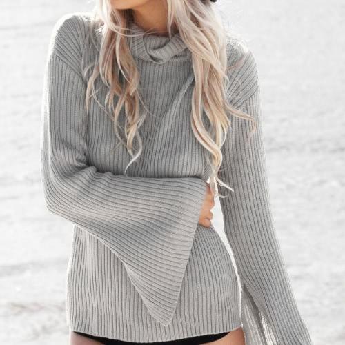 Turtle Neck Long Split Flare Sleeve Loose Sweater