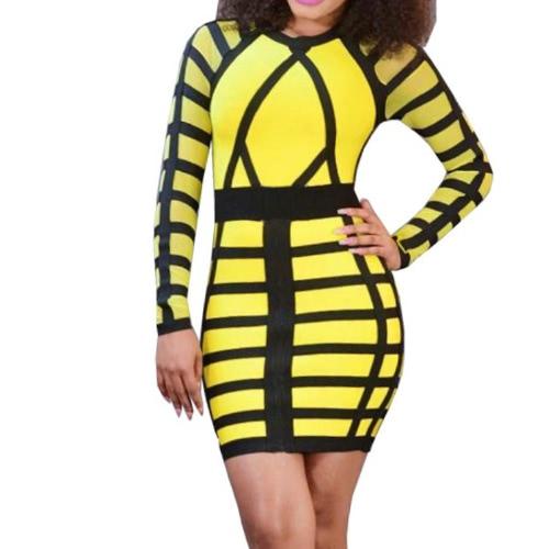 Color Block Stripe Round Neck Long Sleeve Bodycon Mini Dress