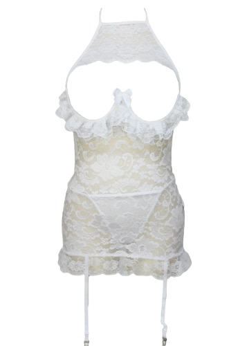 White Lace Open Cup Lingerie with Garters