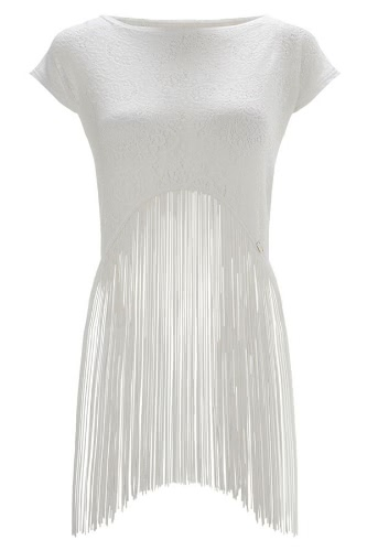 Sexy Fringed Sheer White Lace Short Sleeve Crop Top