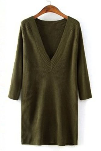 V-Neck Ribbed Pullover Sweater Dress