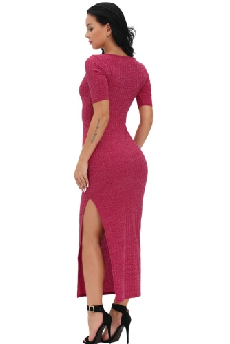 Burgundy Dusty Ribbed Half Sleeve Maxi Dress