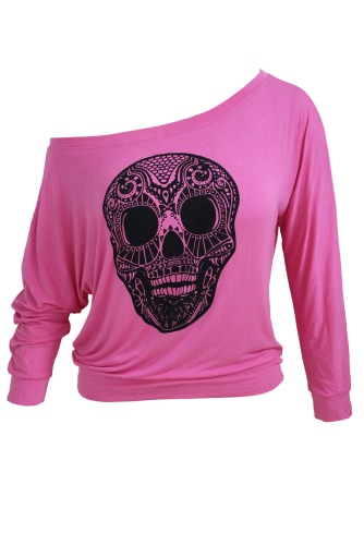 Skull Print Off Neck Long Sleeve T-shirt