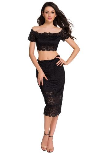 Black Lace Off-shoulder Crop Top and Skirt Set