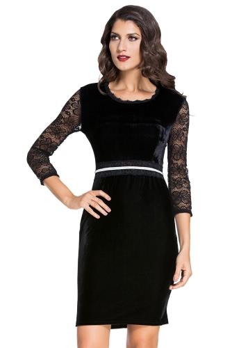 Black Lace Sleeves Bodycon Velvet Midi Dress