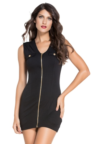 Black Zip Front Sleeveless Mini Bodycon Dress