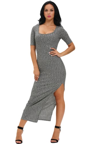 Dusty Ribbed Half Sleeve Maxi Dress