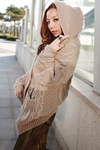 Knit Pockets Buttons Hoodie Cardigan Sweater